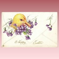 "Antique Easter ""Envelope"" Duckling & Violets  Stecher Postcard"