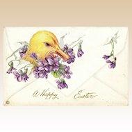"""Antique Easter """"Envelope"""" Duckling & Violets  Stecher Postcard"""