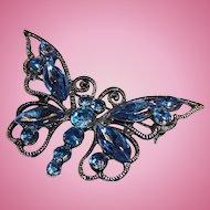 Large Classic Blue Rhinestone Butterfly Brooch