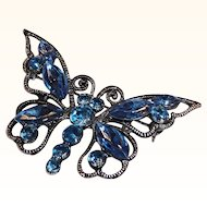 Large Classic Blue Rhinestone Butterfly Brooch