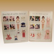 """Vintage Paper Dolls """"Betsy McCall"""" Paper Dolls Copyright 1953"""
