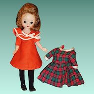 """1950's American Character 8"""" Betsy McCall; 2 Dresses, Tights, Shoes, Stand"""