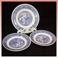 Three Vintage Blue Willow Plates