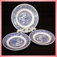 Three Vintage Blue Willow Plates