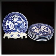 Set of Six:  Blue Willow Saucer Plates Japan