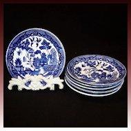 Set of Six:  Blue Willow Saucer Plates Japan