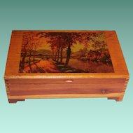 Vintage Cedar Keepsake Box Decoupaged Fall Scene