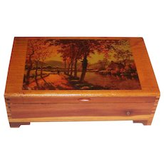 Vintage Cedar Keepsake Box Decoupaged Fall Scene