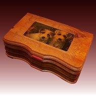 Carved Cedar Mirrored Keepsake Box; Jack Russell Terriers