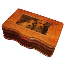 Carved Cedar Mirrored Keepsake Box; Jack Russell Terriers - Red Tag Sale Item