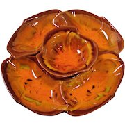 Flaming Orange California Pottery Lazy Susan
