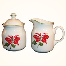 Cuthbertson Poinsettia Creamer and Covered Sugar
