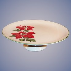 Cuthbertson Christmas Poinsettia Footed Cake Plate / Stand