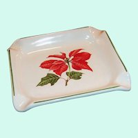 Cuthbertson Red Poinsettia Christmas Ashtray