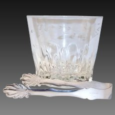 Princess House Heritage Etched Crystal Ice Bucket and Silver Plate Tongs