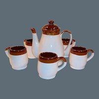 Mid-Century Stoneware Coffee Pot & Mug Set