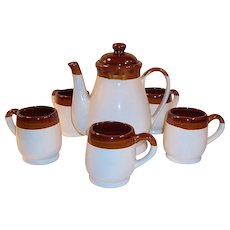 Mid-Century Stoneware Coffee Pot & Mug Set