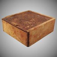 Vintage Child's Peg Board Wooden School Supply Box