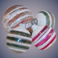 Four  1930's -1940's Shiny Brite Clear Glass & Striped Christmas Tree Ornaments