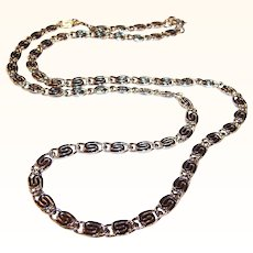 "Shiny Silver Tone Snail Chain ""S"" Link Necklace"