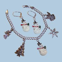 Sterling Silver Double Link Bracelet Christmas Charms & Snowmen Leverback Earrings