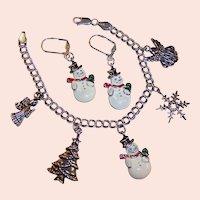 Sterling Silver Double Link Bracelet Christmas Charms & Snowmen Leverback Earrings