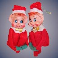 Vintage Christmas Knee Hugger Elves -- TWINS!