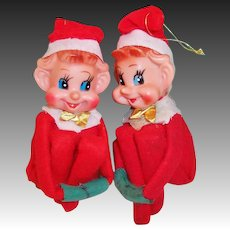 Vintage Christmas Knee Hugger Elves -- TWINS!