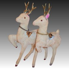 Flocked Christmas Reindeer Pair