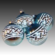 """Set of 4:  2 3/4"""" Large Stenciled Blue Glass Mid Century Christmas Ball Ornaments"""