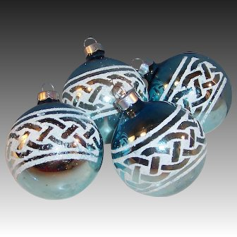 "Set of 4:  2 3/4"" Large Stenciled Blue Glass Christmas Ball Ornaments"