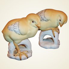 Spring!  Porcelain Pair of Birds --  C. Martinu Figurines Made in Spain -- Yellow Warblers