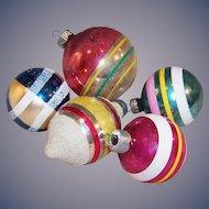 5 Shiny Brite, USA, and Poland Vintage Glass Christmas Tree Ornaments