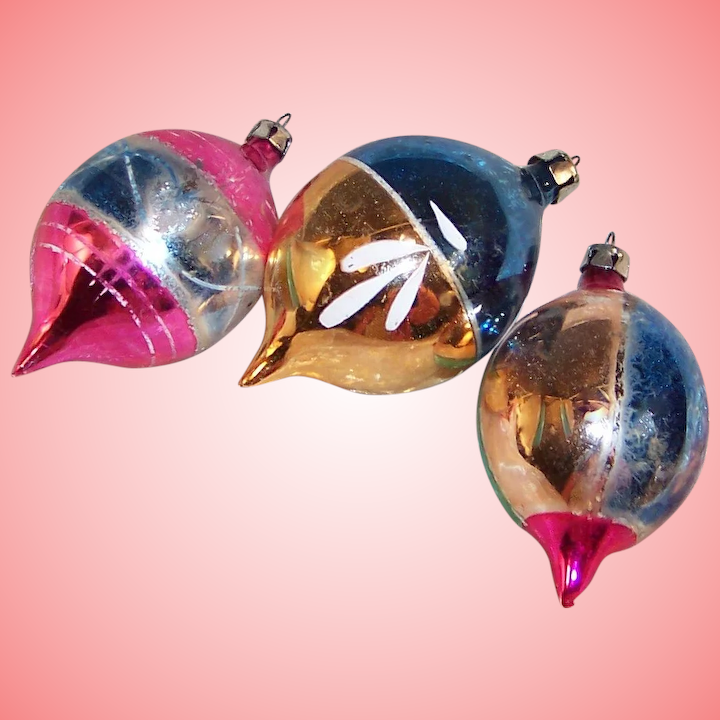 Three Poland Hand Blown and Decorated Glass Christmas Tree Ornaments : Ruth's Redemptions Antiques & Collectibles | Ruby Lane