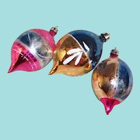 Three Poland Hand Blown and Decorated Glass Christmas Tree Ornaments