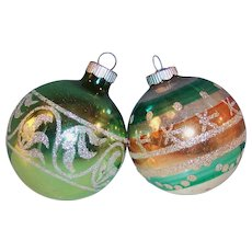 """TWO Large Vintage 3"""" Shiny Brite Stencil Designed Glass Ball Christmas Tree Ornaments"""