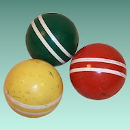 SALE!  Set of 3 Vintage Croquet Balls Colorful Rustic Decor