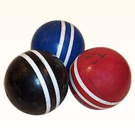 Set of 3 Vintage Croquet Balls Colorful Rustic Decor