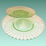 (2) Hazel Atlas Ribbon Luncheon Plates