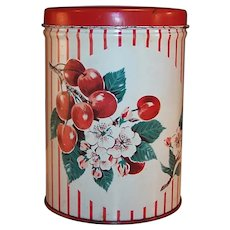 Vintage 1950's Enamel Cherry Canister