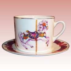 Large Teleflora Carousel Horse Cup & Saucer