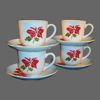 SET of 4: Cuthbertson Poinsettia Cup & Saucer Sets