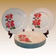 "Set of FOUR: Cuthbertson Poinsettia 10 1/4"" Dinner Plates (Only 1 Set  Available)"