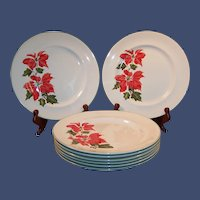 """SETS OF 4:  Cuthbertson Christmas Poinsettia 10 1/4"""" Dinner Plates (TWO SETS of 4 Plates Avail.)"""
