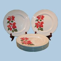 "SETS OF 4:  Cuthbertson Christmas Poinsettia 10 1/4"" Dinner Plates (TWO SETS of 4 Plates Avail.)"