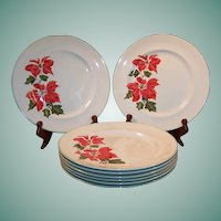 """Set of FOUR: Cuthbertson Christmas Poinsettia 10 1/4"""" Dinner Plates (Only 1 Set  Available)"""