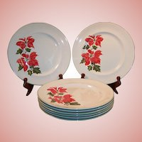 "Set of FOUR: Cuthbertson Christmas Poinsettia 10 1/4"" Dinner Plates (Only 1 Set  Available)"