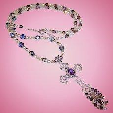 Sterling Silver Filigree Amethyst Cross Pendant Necklace