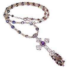 Sterling Silver Filigree Amethyst Cross Pendant Necklace
