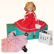 1957 Vintage Vogue Blonde Jill Doll; Box, 2 Dresses, Slip, Panties, Hose, Earrings, 2 Pairs Shoes, Tag & Brochure